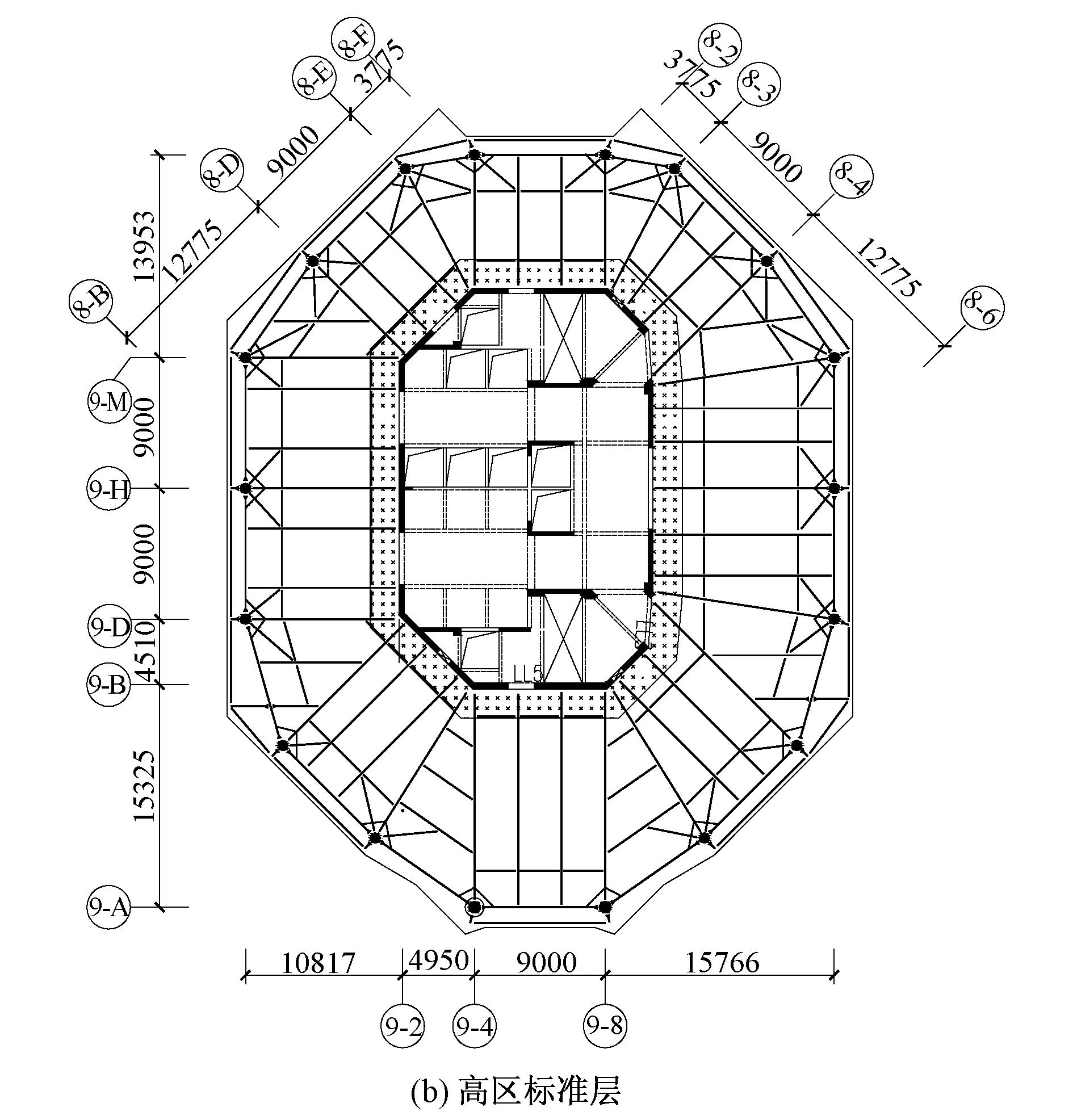 塔楼屋顶幕墙结构采用钢框架+支撑结构