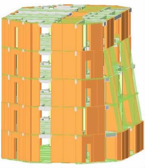 图1 建筑效果图,剖面图    2   结构体系  对比混合结构和钢筋混凝土